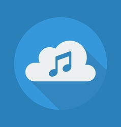 Cloud computing flat icon music vector