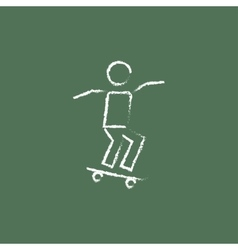 Man on skateboard icon drawn in chalk vector