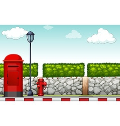 Sidewalk with lamp and mailbox vector