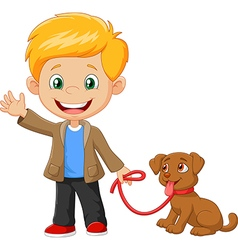 Little boy with his dog isolated vector