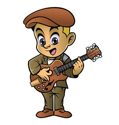 boy playing a jazz guitar vector image