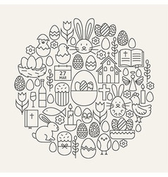 Happy easter line icons set circle shape vector