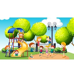 Children playing in the public park vector