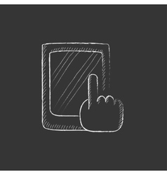 Finger pointing at tablet drawn in chalk icon vector
