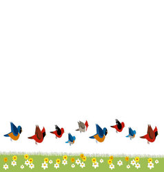 Birds and flowers 2 vector