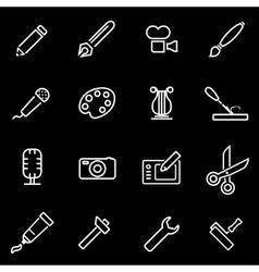 Line art tool icon set vector