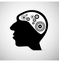 Abstract Black Human Head with Cogs Gears Instead vector image vector image