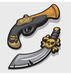 Ancient pirate sword and gun in cartoon style vector image