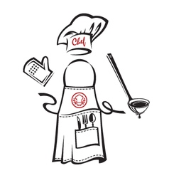 apron with kitchenware vector image vector image