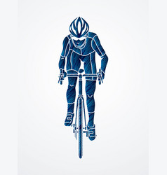Bicycle riding front view sport man biking vector