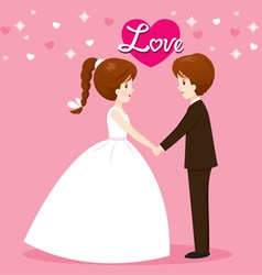 Bride and groom in wedding clothing clasping hands vector