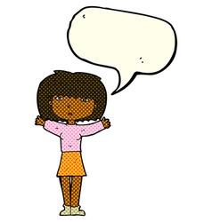 Cartoon woman raising arms in air with speech vector