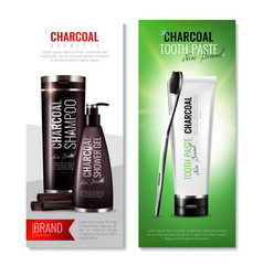 Charcoal toothpaste vertical banners vector