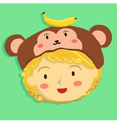 Curly girl with monkey hat vector