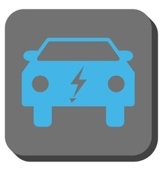 Electric power car rounded square button vector