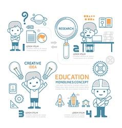 Flat mono line Infographic Education People work vector image