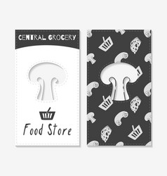 Hand drawn silhouettes food store business cards vector
