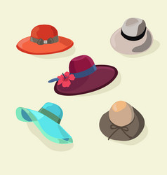 Hats set fashion for men and women style vector