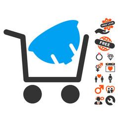 Helmet shopping icon with lovely bonus vector