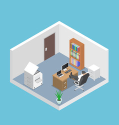 isometric businessman relaxing in the office room vector image vector image