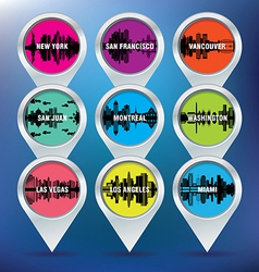 Map pins with New York San Francisco Vancouver vector image vector image