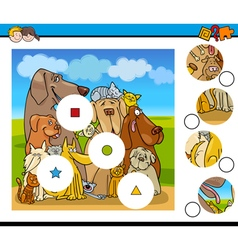 Match pieces activity with dogs vector