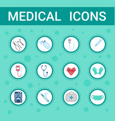 medical equipment icons set online consultation vector image