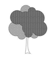 Monochrome silhouette tree with zigzag and wave vector