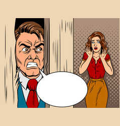 Salesman breaking door comic book style vector