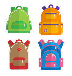 school backpacks set of flat colored backpack vector image