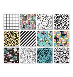Set of seamless patterns in 80s-90s memphis style vector