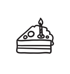 Slice of cake with candle sketch icon vector