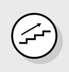 Stair with arrow flat black icon in white vector