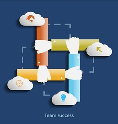 Team success flat design concept template with vector image
