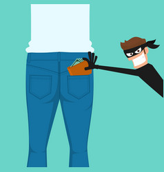 Thief pickpocket stealing a wallet from back vector