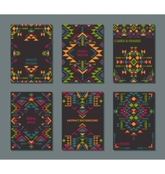 Set of six cards ethnic ornate pattern vector