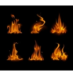 Set of yellow orange fire bonfire on background vector