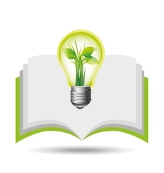 Eco book environment bulb plant graphic vector