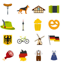 Germany set flat icons vector
