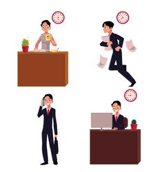 Work day typical morning of businessman career vector