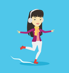 woman ice skating vector image