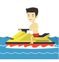 Asian man training on jet ski in the sea vector