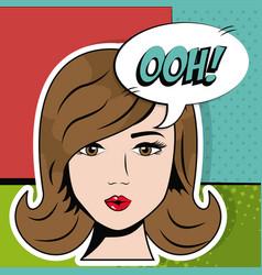 Face cute girl bubble speech pop art vector