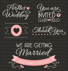 Set of wedding stickers and ribbons vector