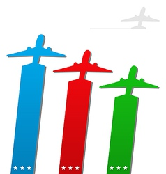 Set of labels with airplanes for aviation company vector