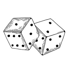 Dice game engraving vector