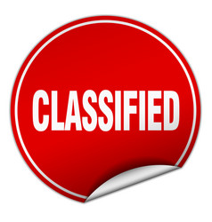 Classified round red sticker isolated on white vector