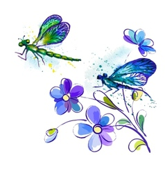 watercolor background with dragonflies and flowers vector image