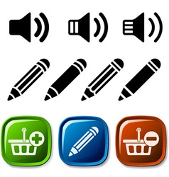 Speaker pencil basket icons vector