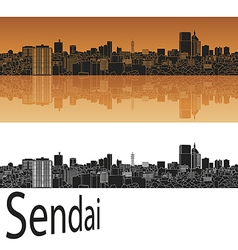 Sendai skyline in orange vector